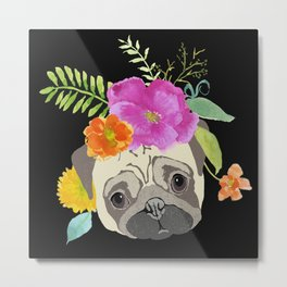 Pug with Flowers Metal Print