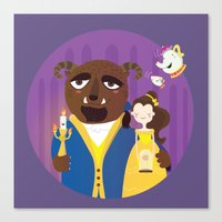 beauty and the beast Canvas Prints featuring Beauty and beast by Maria Jose Da Luz