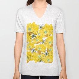yellow marzipan flowers Unisex V-Neck