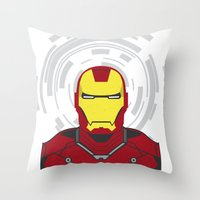 ironman Throw Pillows featuring IRONMAN by Nuthon Design