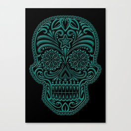 Intricate Teal Blue and Black Day of the Dead Sugar Skull Canvas Print