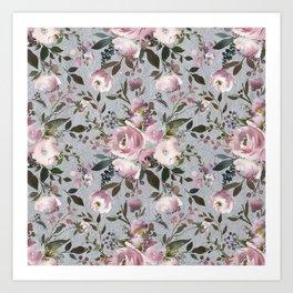 Blush blue pink coral green watercolor botanical roses Art Print