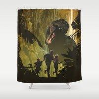 dinosaur Shower Curtains featuring Dinosaur Poster by Ed Burczyk