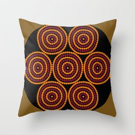 Aboriginal Cycle Style Painting Throw Pillow