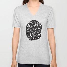 God is Love Black and White Unisex V-Neck
