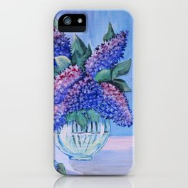 flowers in a glass vase . artwork iPhone Case