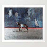 greyhound Art Prints featuring greyhound by Agnes Florko