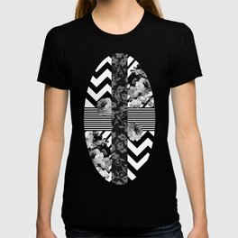 Trendy Black and White Floral Lace Stripes Chevron T-shirt