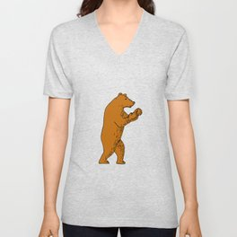 Brown Bear Boxing Stance Drawing Unisex V-Neck