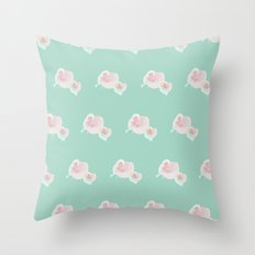 Dope Floral Teal Throw Pillow