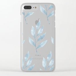 Blue Watercolor Leaves Clear iPhone Case