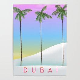 Dubai desert and palms travel poster Poster