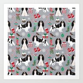 Cavalier King Charles Spaniel black and white christmas dog gifts pet friendly Art Print