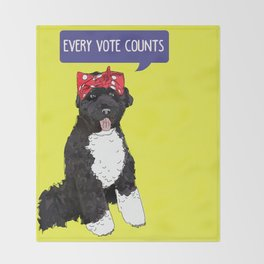 Political Pup -Every Vote Counts Throw Blanket
