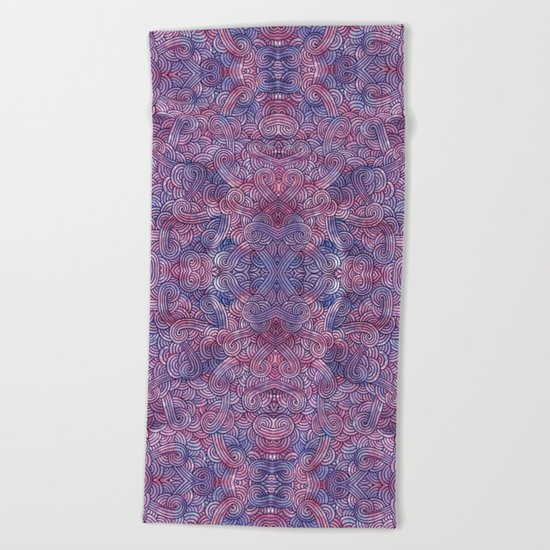 Purple swirls doodles Beach Towel