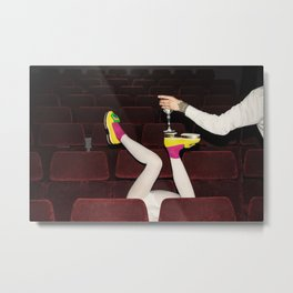 I enjoy going to the cinema. Taking a dress off. Closing my eyes. Watching the Dreamers. Metal Print