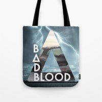 bastille Tote Bags featuring Bastille - Bad Blood by Thafrayer