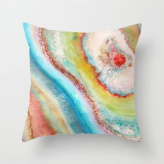 AGATE Inspired Watercolor Abstract 01 Throw Pillow