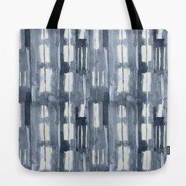 Simply Shibori Lines in Indigo Blue on Lunar Gray Tote Bag