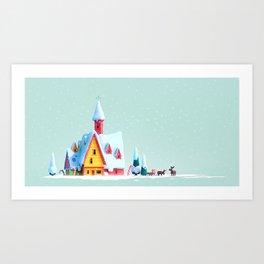Santa's Home - Christmas Motive Art Print