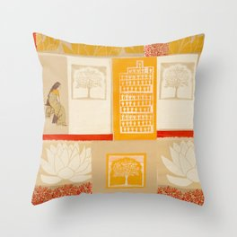 indian lady sitting print Throw Pillow