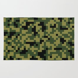 Digital Green Camouflage Pattern Rug