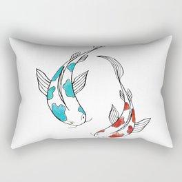 Bright watercolor koi fish pair Rectangular Pillow