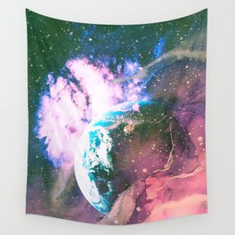 Space Earth Watercolor Wall Tapestry