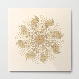 Ivory and Gold Peacock Mandala Metal Print