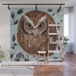 Painted Owl Wall Mural