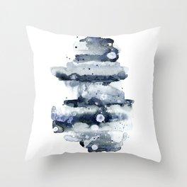 Indigo Abstract Watercolor No.1 Throw Pillow