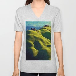 Rolling Hills of Chianti Tuscany, Italy Landscape Painting by Jeanpaul Ferro Unisex V-Neck