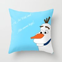 olaf Throw Pillows featuring Olaf by Dewdroplet