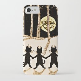 Cats & a Full Moon-Louis Wain Black Cats iPhone Case