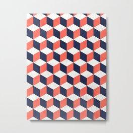 Geometric Cube Pattern  - Coral, White, Blue Concrete Metal Print