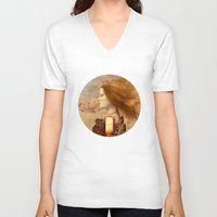 fez V-neck T-shirts featuring Persephone by Diogo Verissimo