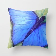Blue Butterfly: Transfiguration Throw Pillow