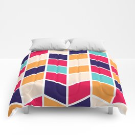 COLORFUL RETRO HERRINGBONE PATTERN Comforters