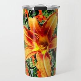 Old Fashioned Orange Day Lilies  Garden Pattern Travel Mug