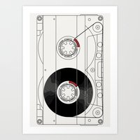 cassette Art Prints featuring Cassette by T.K.O.