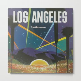 Los Angeles Retro Vintage Travel Poster Metal Print
