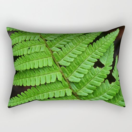 Bright Green Fern in the Forest Rectangular Pillow