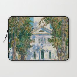 Classical Masterpiece 'The Church in Gloucester, Massachusetts' by Frederick Childe Hassam Laptop Sleeve