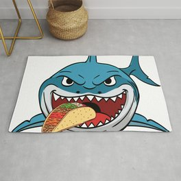 "Perfect Gift For Any Tacos Lovers Or For Those Who Have Big Appetite ""Shark Eating Tacos"" T-shirt Rug"