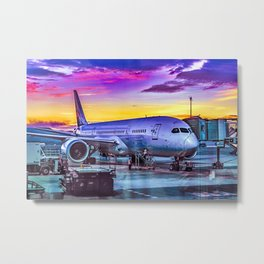 Plane Parked at Barajas Airport, Madrid, Spain Metal Print