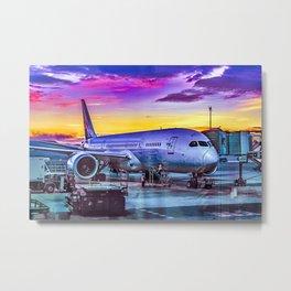 Plane Parked at Barajas Airport, Madrid, Spain Metal Print