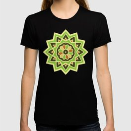 Groovy Green Mandala Spinning Round T-shirt