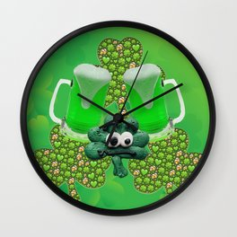 St. Patricks Day Green Beer Wall Clock