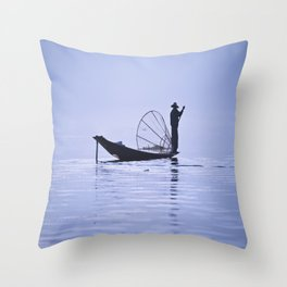 FISHERMAN AT INLE LAKE II Throw Pillow