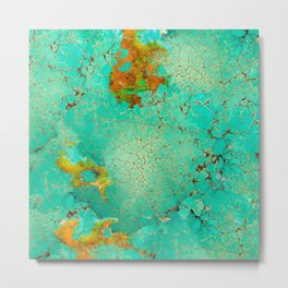 Crackeled Turquoise Stone Metal Print